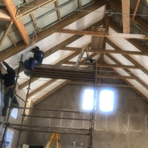 Polystyrene over Exposed Trusses | Thermaboards